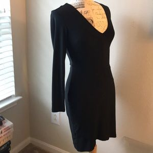 NWT Sexy XOXO Slinky Black Dress Sz M Lace Up Back